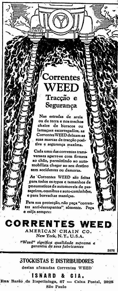 O anúncio de 1929 era de correntes para colocar nas rodas dos veículos para não ficar encalhado nas estradas cheias de lama