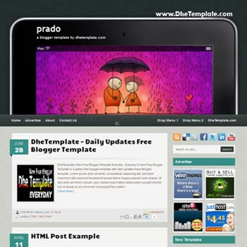 Prado blogger template. convert wordpress theme to blogger template. template nivo slider for blogger. blogger template with 3 column footer