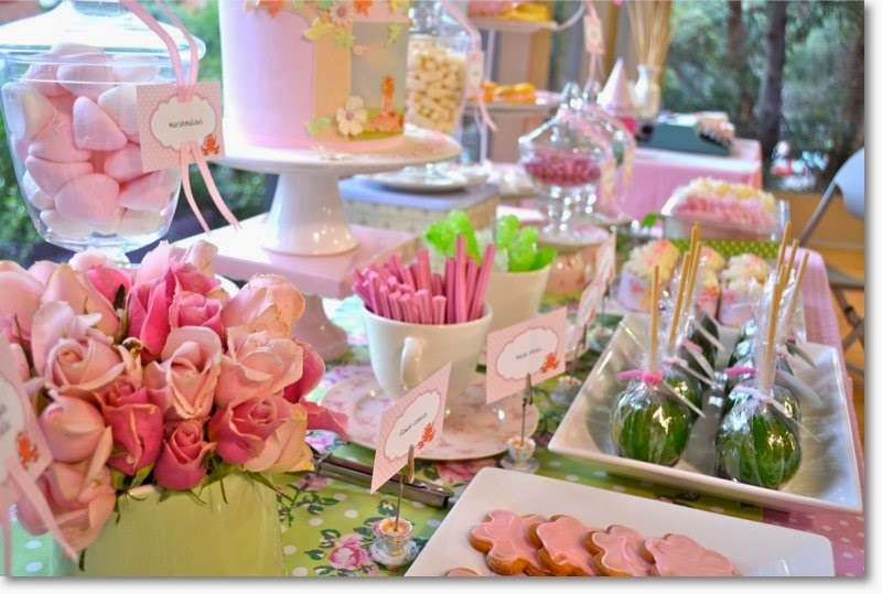 pink and green bridal shower theme