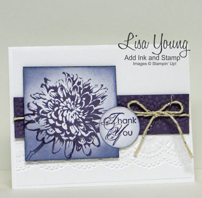 Stampin' Up! Blooming with Kindness stamp set in shades of purple on a white embossed background. A clean and simple, handmade card by Lisa Young, Add Ink and Stamp.