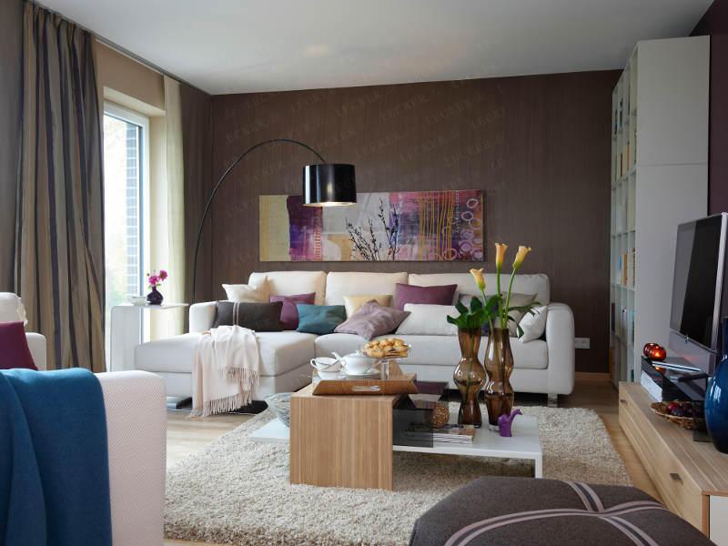 Farbpalette Wandfarben Creme :  Und Sofa Und Teppich In Creme wandgestaltung wohnzimmer braun beige