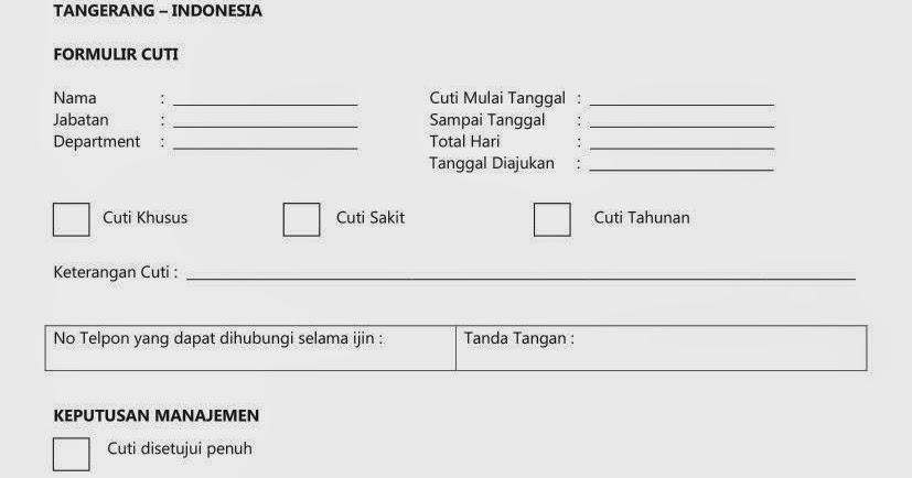 Percetakan Nota Faktur Jatake Tangerang: Cetak Form Cuti