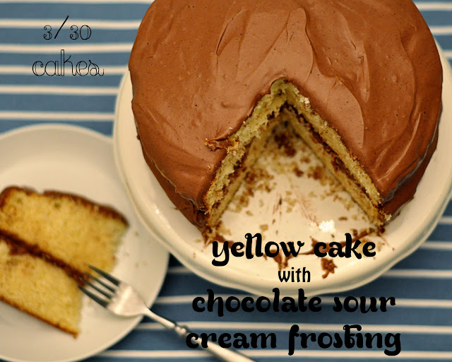 ... of nothing...: Cake #3: Yellow Cake w/ Chocolate Sour Cream Frosting