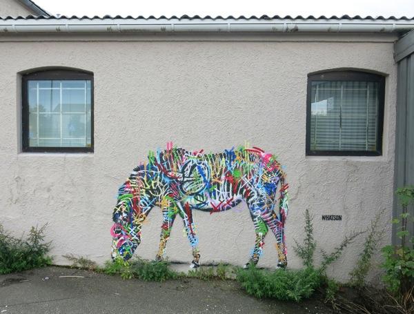 Street Art Murals By Martin Whatson In Stavanger Norway For Nuart Urban Art Festival. zebra