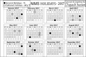NIMS Holidays List 2017 ..Click on to Enlarge