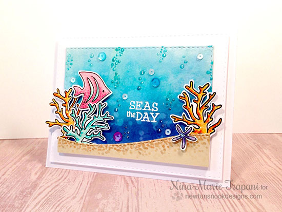 Seas the Day card by Nina-Marie Trapani | Tranquil Tides Stamp Set by Newton's Nook Designs #sea #ocean #stamp