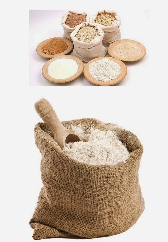Imagen de harinas molidas en  sacos y platos