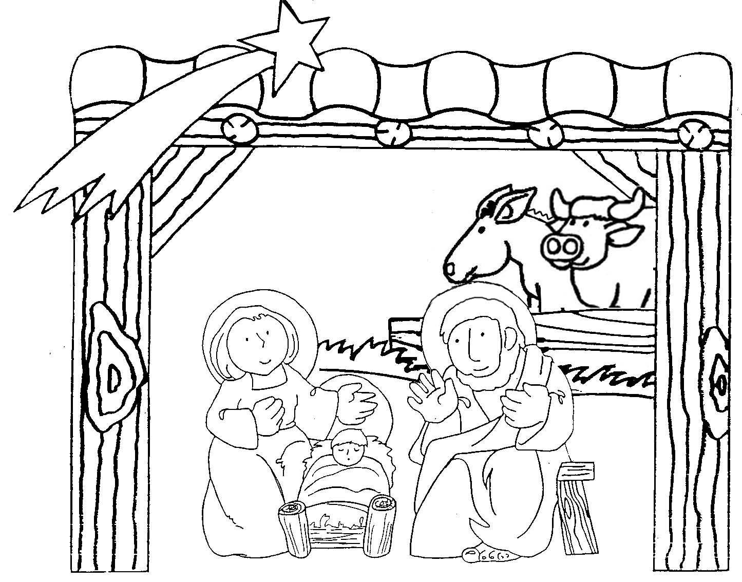 Ba l de navidad pesebre infantil para colorear - Dibujos de belenes ...