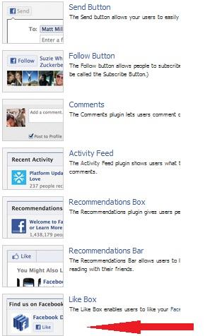 Lista de Plugins Sociales en Facebook