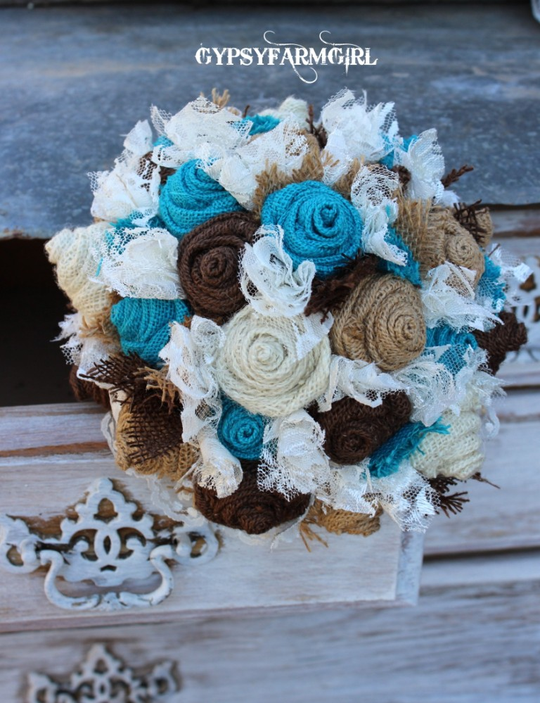 Turquoise Burlap And Lace Wedding Bouquets A New Photo Backdrop