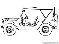 Halaman Mewarnai Gambar Mobil Jeep
