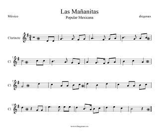 Partitura de Las Mañanitas para Clarinete. Para tocar con la música del vídeo. Las Mañanitas Clarinet sheet music