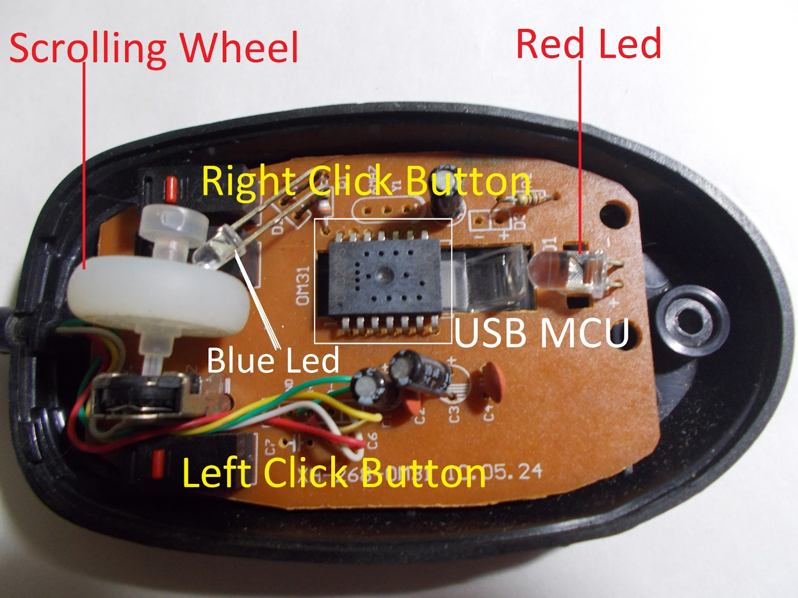 inside an optical mouse electronic repair tips the usb mcu chip found in this is om31 mcu sensor 2 in 1 optical mouse ic the om31 ic is integrated a usb micro controller unit mcu for computer