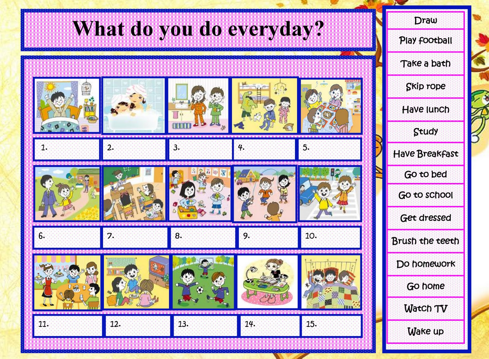 My English Class: Children Activity - English Printable Worksheet