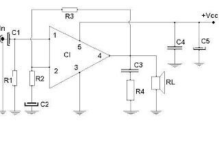 Circuito de sencillo amplificador con el TDA2040,de 20W