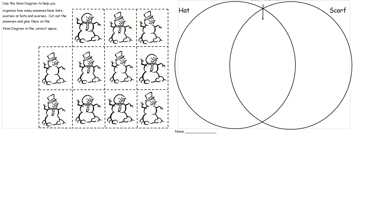Snowman venn diagram freebie first grade shenanigans here is another venn diagram freebie this time students will sort the snowmen that have hats scarves or hats and scarves pooptronica Choice Image