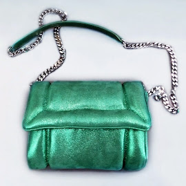 Sparkly green Julien David Small Pillow Shoulder Bag.