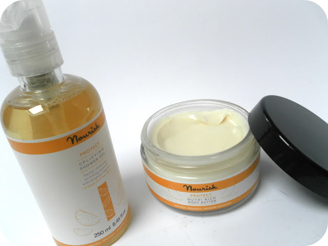 A picture of Nourish Protect Nutri-Rich Body Butter and Protect Uplifting Shower Gel
