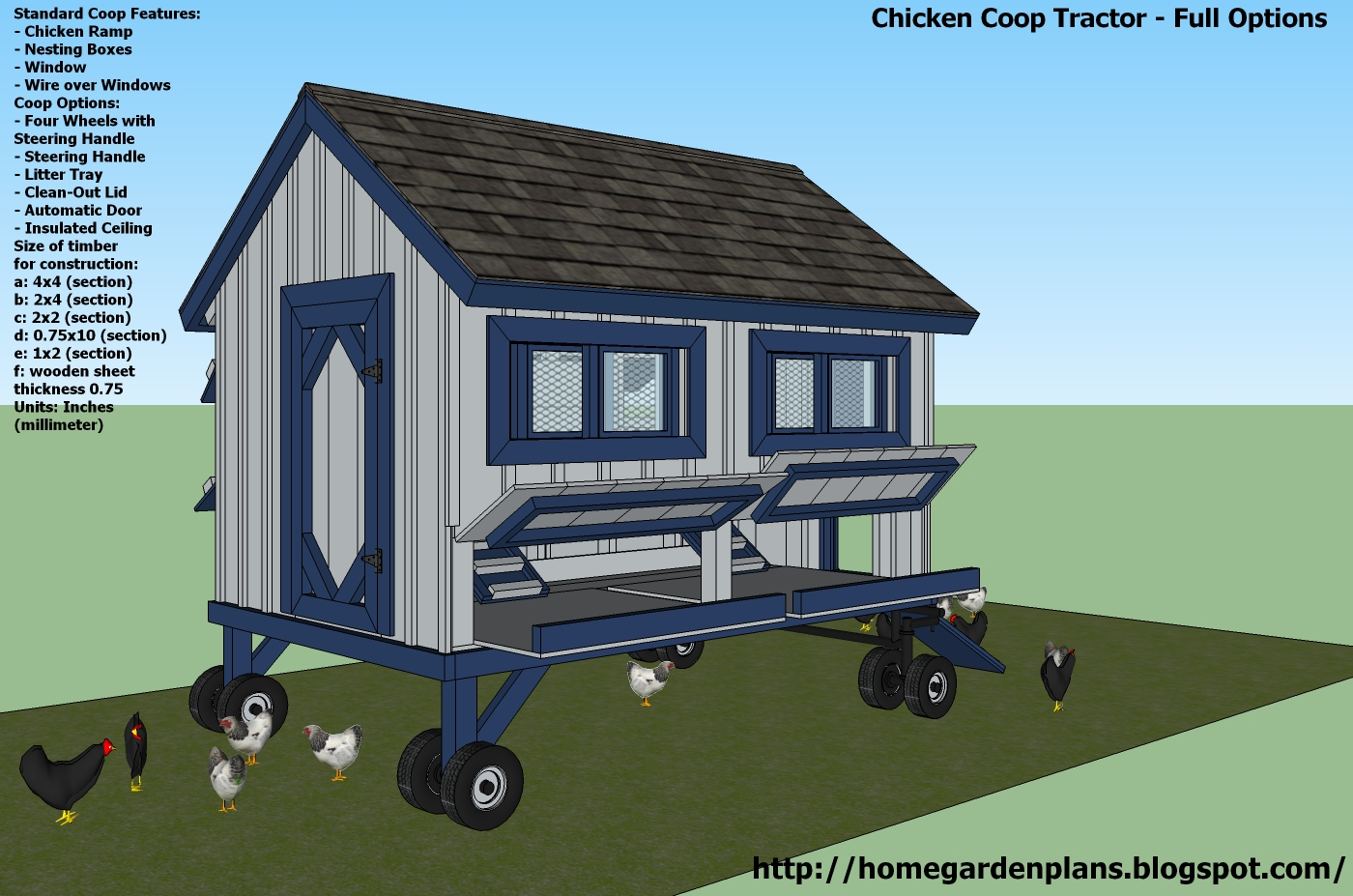 home garden plans: T300 Full Options - Free Chicken Coop Tractor Plans