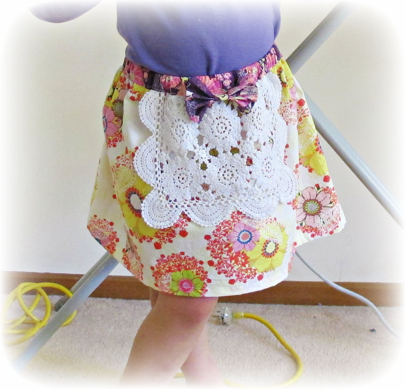 image doily apron skirt yellow white purple bow poetica serenad moon light art gallery fabrics rhapsodia mystic aura fields patricia bravo