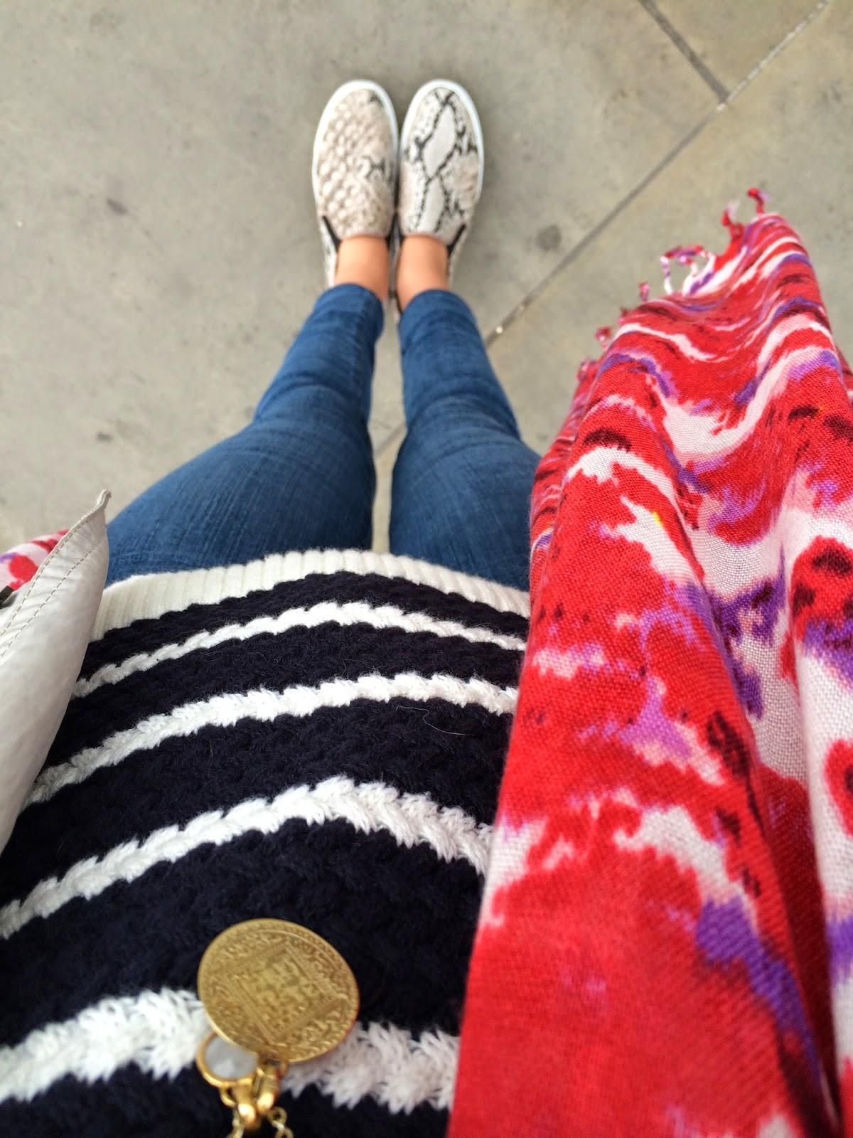 fwist, breton stripes, hobbs breton stripes, j brand jeans, hm slipsons, slip ons, monica vinader, red scarf, red printed scarf