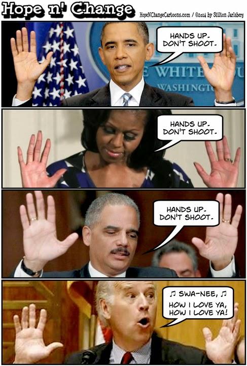 obama, obama jokes, political, humor, cartoon, conservative, hope n' change, hope and change, stilton jarlsberg, ferguson, michael brown, police, hands up