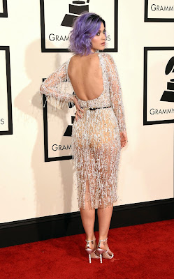 Katy Perry in sheer dress by Zuhair Murad at 2015 Grammy Awards red carpet
