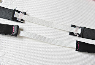 elastic sewn onto ribbon ends