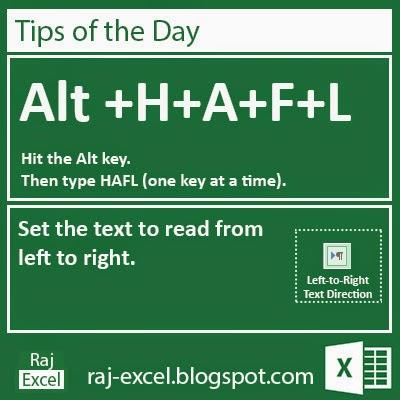 Microsoft Excel 2013 Short Cut Keys: Alt + HAFL