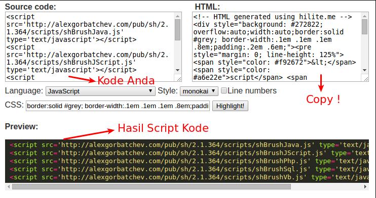 Cara menuliskan Script Kode Program agar Tampak Keren di Blogger