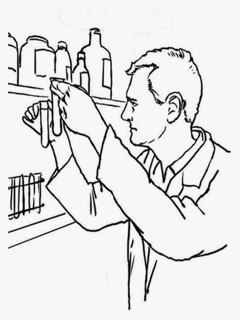coloring pages of a scientist