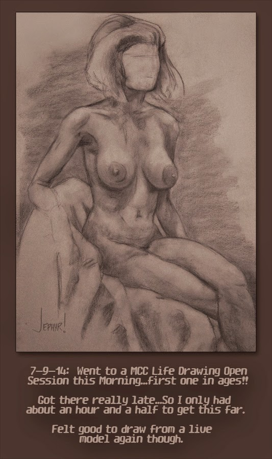 Charcoal Life Drawing, Copyright 2014, Jephyr (AKA Jeff Curtis)