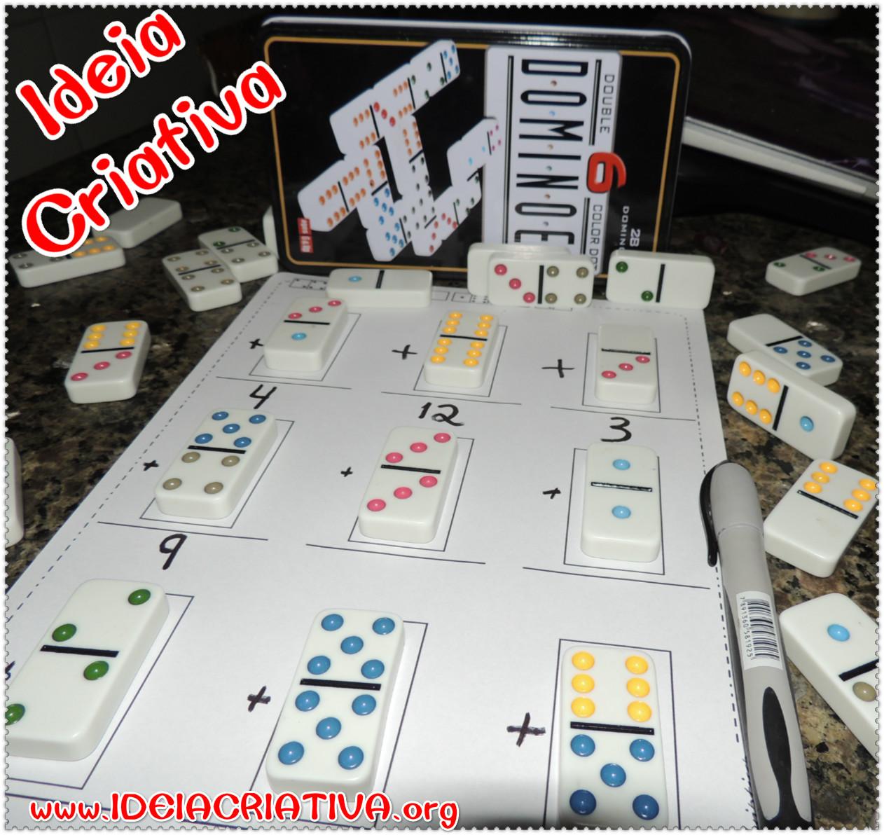 Atividade Material Concreto Somando com dominós com folha para impressão