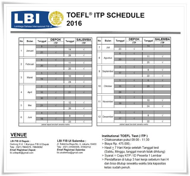 Jadwal Tes Toefl ITP LBI UI 2016