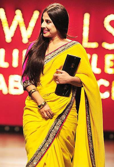 Bollywood Actress Vidyabalan Yellow Saree Photos