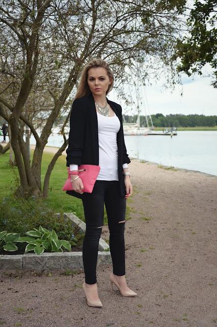 outfit black white fuchsia