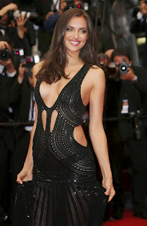 Irina Shayk Braless Showing Huge Cleavage In Black Transparent Dress