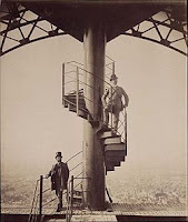 Gustave Eiffel posing at the summit of the Eiffel tower, 1889