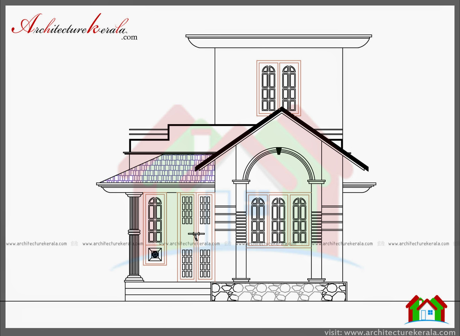 750 sq ft house plan and elevation architecture kerala for Kerala home plan and elevation 1000 sq ft