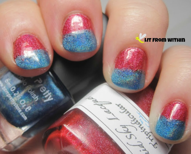 top half of my nails painted with Liquid Sky Lacquer Tripindicular, and the lower half with Born Pretty Holo #8