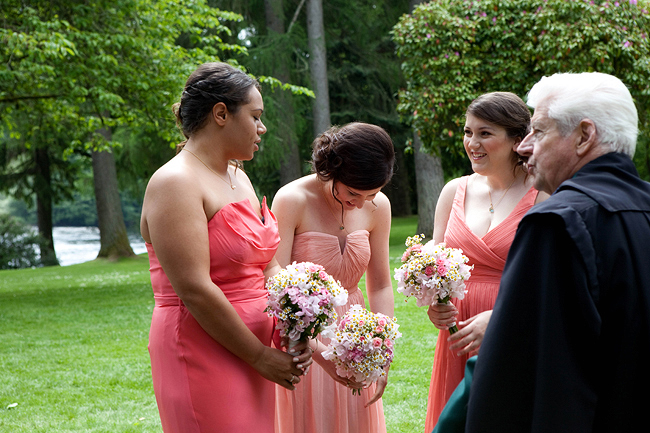 {Lillian and Leonard Wedding Photography} mismatched coral bridesmaids