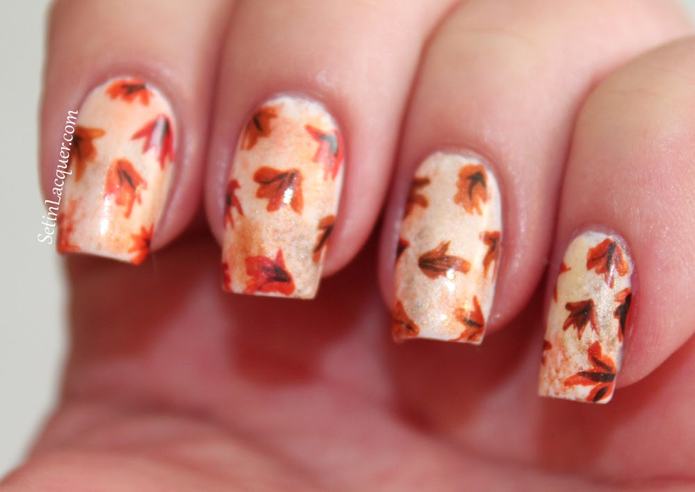 More eyeshadow nail art with a touch of Fall - Set in Lacquer