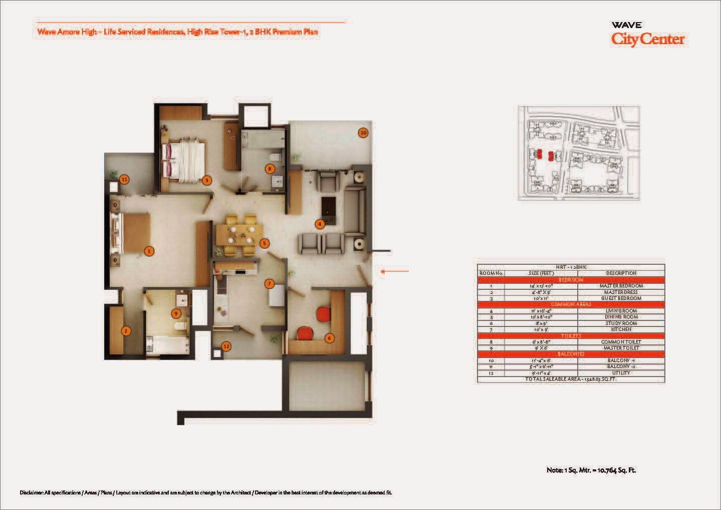High Rise Tower 1,2 BHK Premium Plan