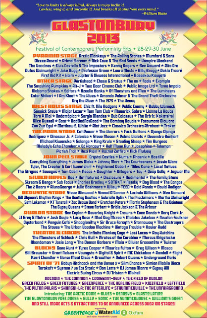 Glastonbury Festival 2013. Line-up
