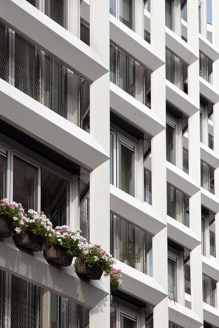 pattern of modern building with flowers