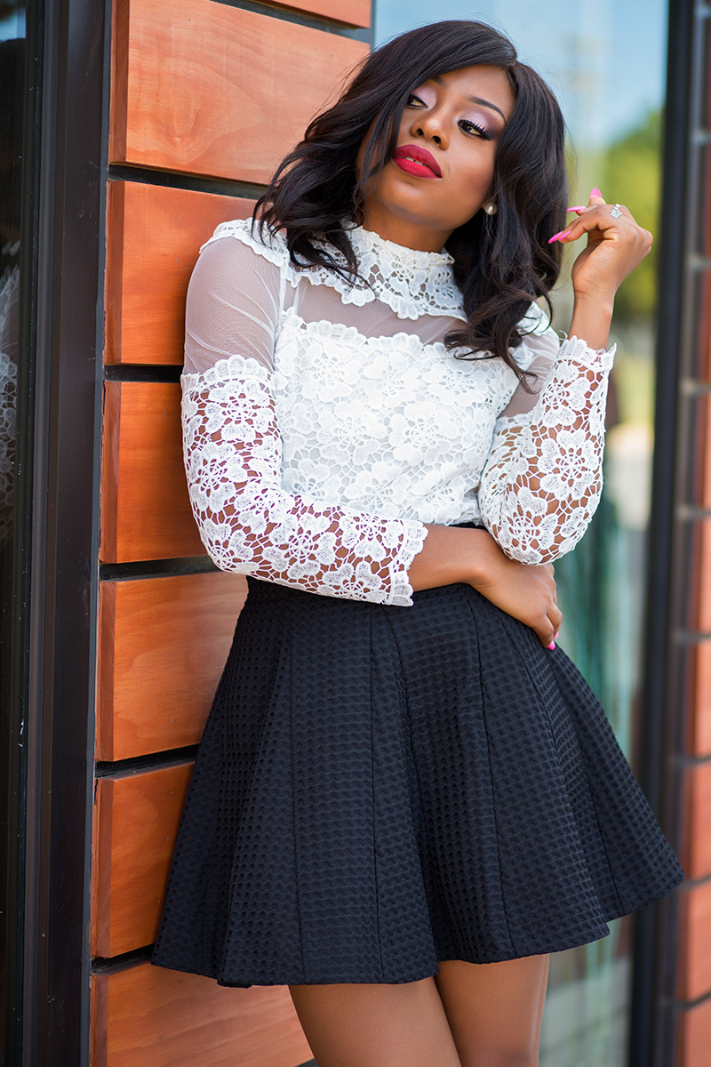 Chic wish skater skirt and Flower Dance Mesh Crochet White Top