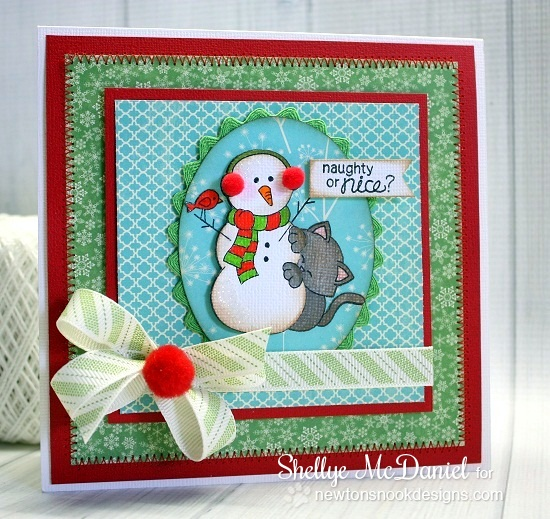 Naughty or Nice christmas kitty card by Shellye McDaniel for Newton's Nook Designs - Newton's Curious Christmas Cat stamp set