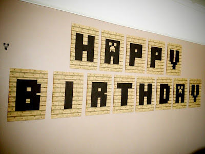 Minecraft happy birthday banner/bunting