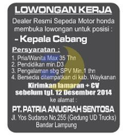 Recruitment PT. Patria Anugrah Sentosa, lOWONGAN kERJA lAMPUNG, SENIN 08 DESEMBER 2014