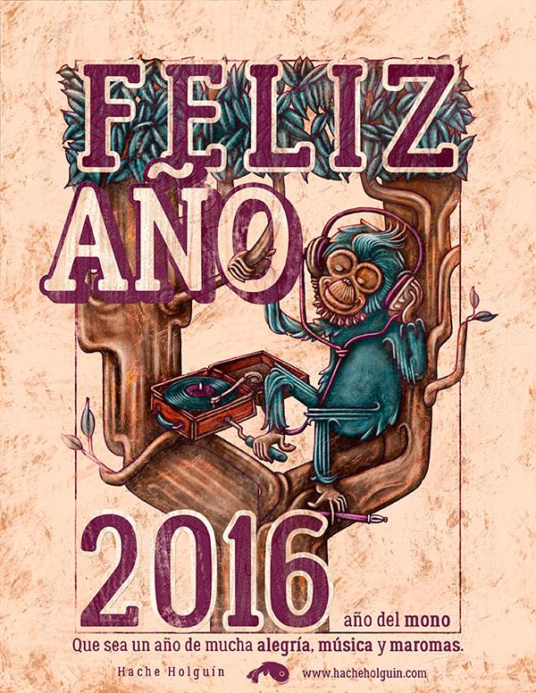 Ilustración, Feliz Año 2016 de Hache Holguín
